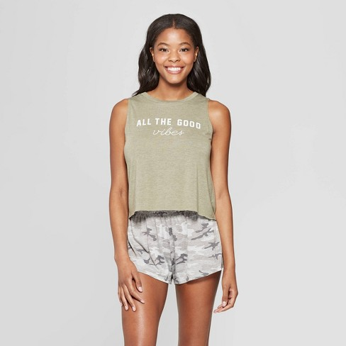 Grayson Threads Women's All The Good Vibes Tank Top and Shorts Pajama Set - Green - image 1 of 3
