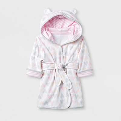 Baby Girls' Hearts Knit Terry Robe - Cloud Island™ White 6-9M
