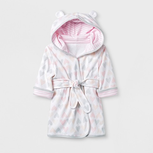 Baby Girls  Hearts Knit Terry Robe - Cloud Island™ White 6-9M   Target 7f26e1a03