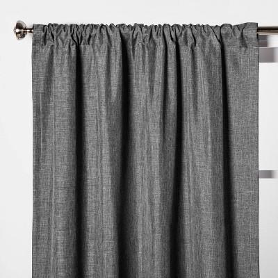 "63""x42"" Heathered Thermal Room Darkening Curtain Panel Dark Gray - Room Essentials™"