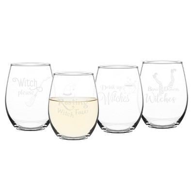 Halloween Drink Up Witches Wine Glasses