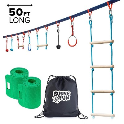 Sunny & Fun Portable 50 Ft. Slackline Monkey Bar and Ladder Kit -  Kids Gym Swinging Obstacle Course Set - Warrior Training Bars, Gymnastic Rings - Carry Bag & Tree Protectors