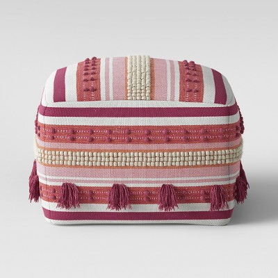 Lory Pouf Textured with Tassels Blush - Opalhouse™