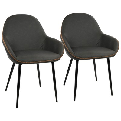 Set of 2 Clubhouse Contemporary Dining Chair Black/Gray - LumiSource