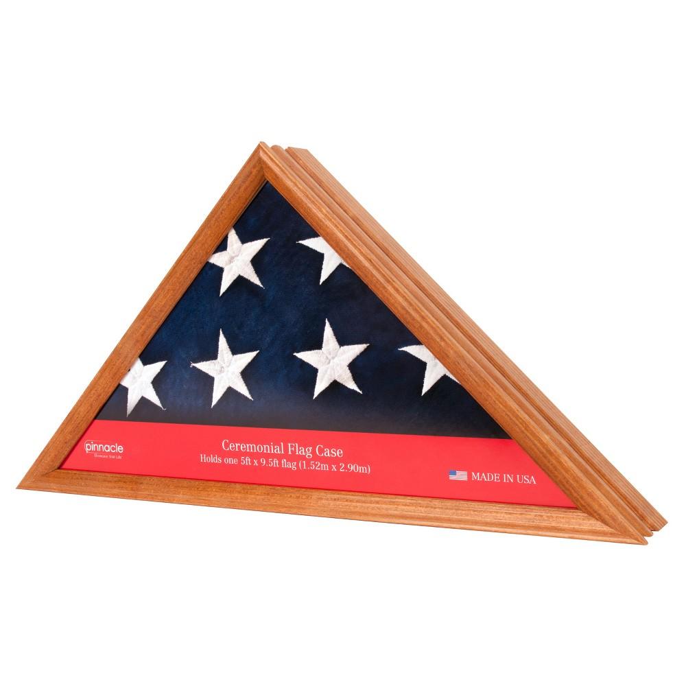 Pinnacle Frames Flag Case / Shadow Box - Teak, Golden Honey