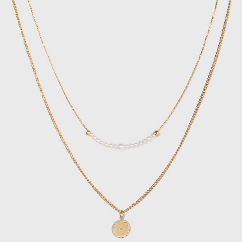 Filigree Disc with Glitter Layered Necklace - A New Day™ Gold - image 1 of 3