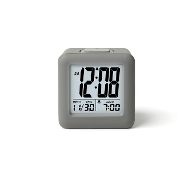 Rubber Cube Calendar Smart Light Table Clock Gray - Timelink