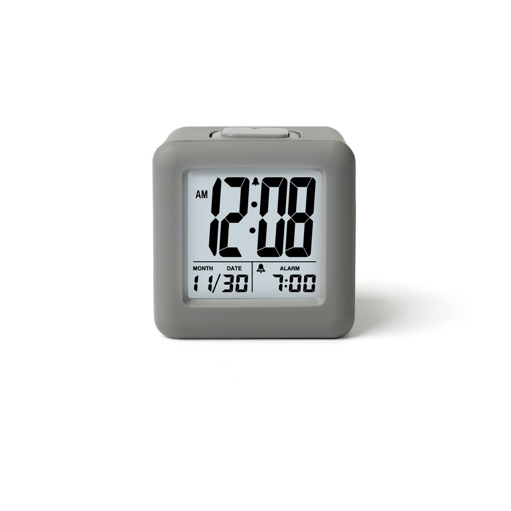 Image of Rubber Cube Calendar Smart Light Table Clock Gray - Timelink