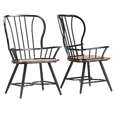 Longford Metal Vintage Industrial Dining Arm Chair - Dark Walnut/Black (Set Of 2)- Baxton Studio