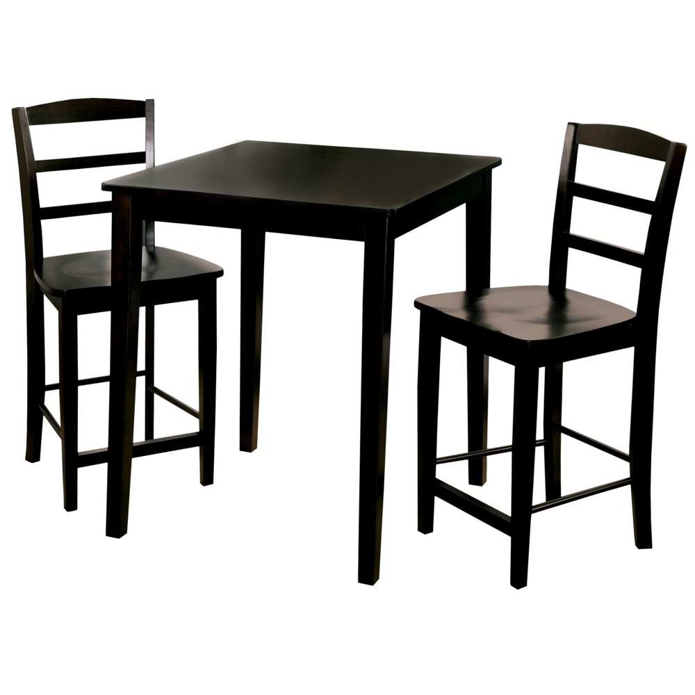 30 Set of 3 Square Counter Height Table with 2 Madrid Stools Black - International Concepts
