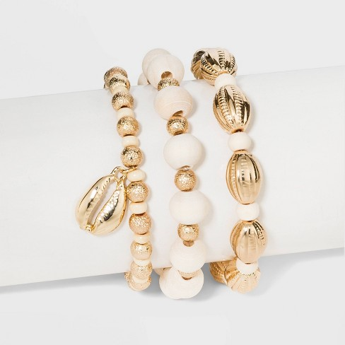 Beaded Stretch Bracelet Set  - A New Day™ Gold/White - image 1 of 1