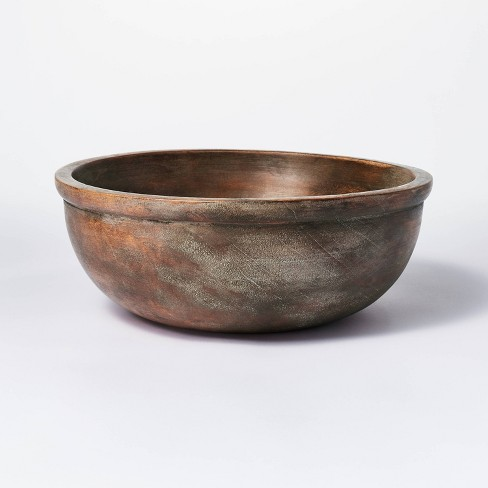 """4.5"""" x 12"""" Round Wooden Bowl Brown - Threshold™ designed with Studio McGee - image 1 of 4"""