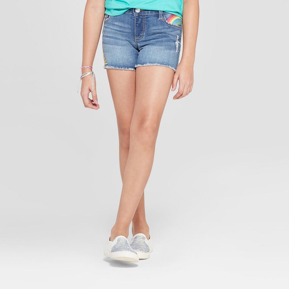 Girls' Embroidered Jean Shorts - Cat & Jack Medium Wash M, Blue