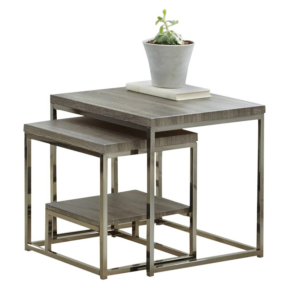 Image of 2pc Lucia Nesting Table with Nickel Gray - Steve Silver