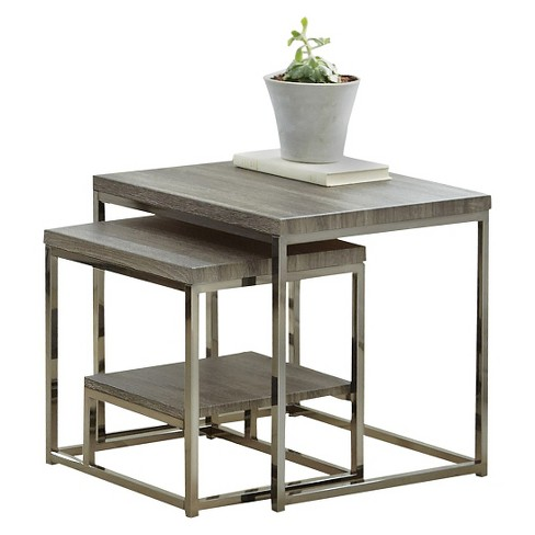 Lucia 2 Pc Nesting Table with Nickel Gray - Steve Silver - image 1 of 4