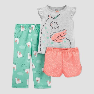 Baby Girls' 3pc Llamacorn Pajama Set - Just One You® made by carter's Gray 12M