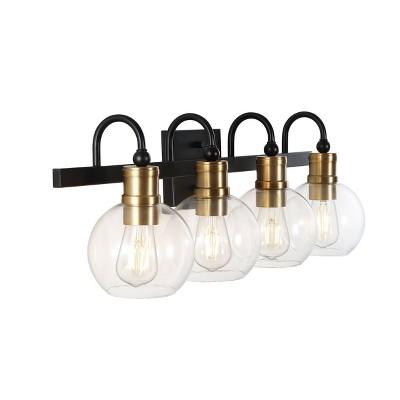 LED Iron/Glass Marais Rustic Wall Light Black/Gold - JONATHAN Y