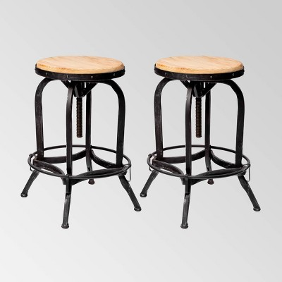 Set of 2 Farmdale Industrial Adjustable Swivel Barstool Tan - Christopher Knight Home