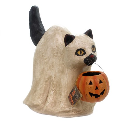"Halloween 16.75"" Large Ghost Cat Spooky Pumpkin - image 1 of 2"