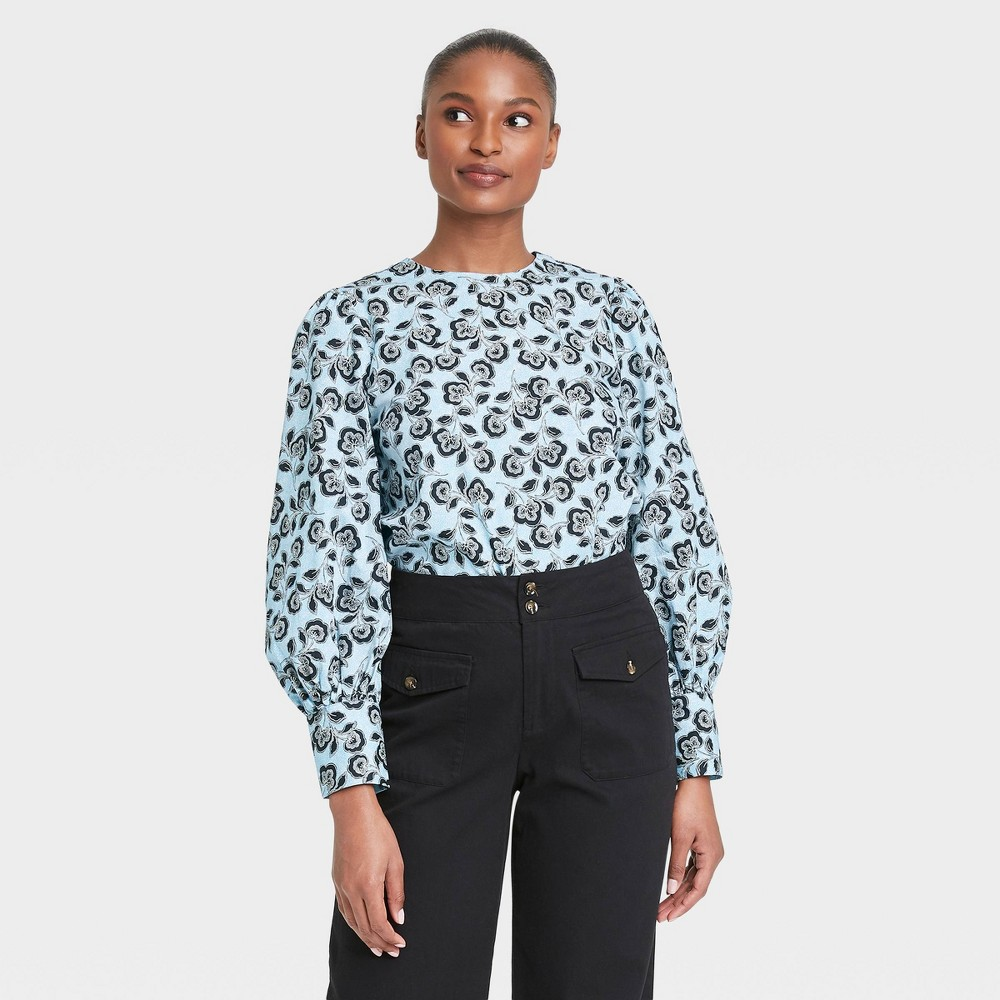 Women 39 S Floral Print Balloon Long Sleeve Button Back Top Who What Wear 8482 Blue L
