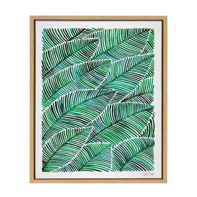"""18"""" x 24"""" Sylvie Tropical Leaves Framed Canvas by Cat Coquillette Natural - Kate and Laurel"""