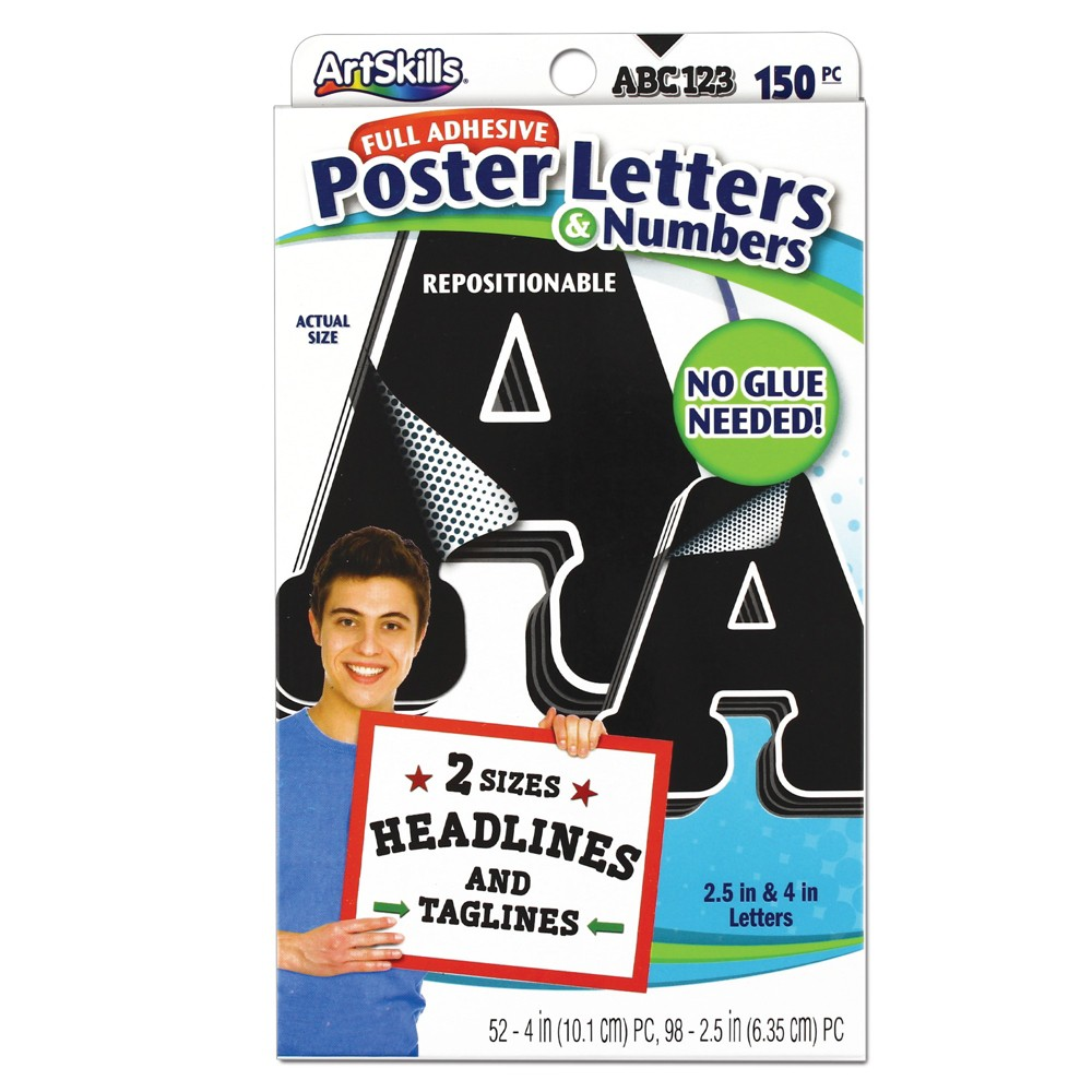 Image of 150ct Poster Letters & Numbers - ArtSkills, Black