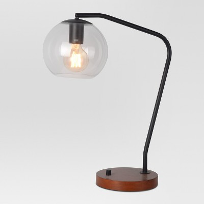 Menlo Glass Globe Desk Lamp Black Lamp Only - Project 62™
