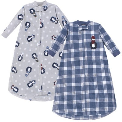 Hudson Baby Unisex Baby Long-Sleeve Fleece Sleeping Bag - Blue Penguin 0-9M