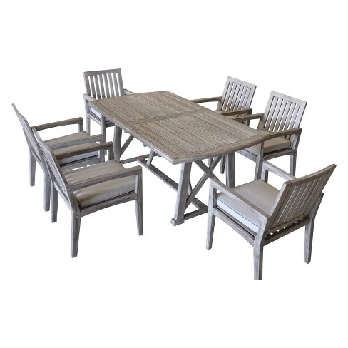 + 2 more - Teak Surf Side Rectangle Outdoor Dining Table - Driftwood Gray