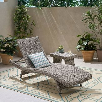 Crete Wicker Armless Chaise Lounge with Wicker Foldable Side Table 2pc Set - Gray - Christopher Knight Home