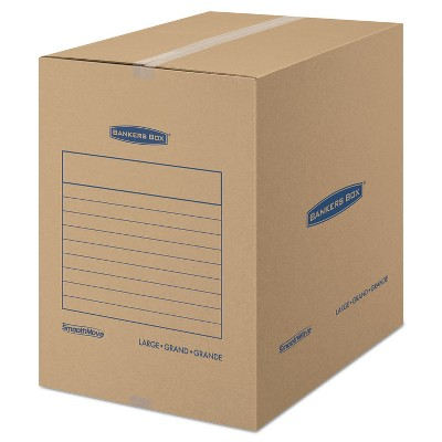 Bankers Box SmoothMove Basic Large Moving Boxes 18l x 18w x 24h Kraft/Blue 15/Carton 7714001