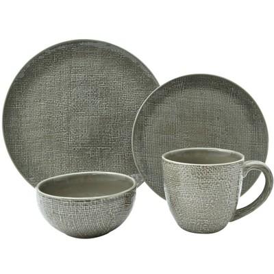16pc Stoneware Kain Dinnerware Set Taupe - Sango