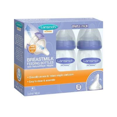 Lansinoh mOmma Feeding Bottle with Natural Wave Nipple 5 fl oz 3ct, Purple
