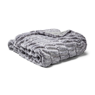 "60"" x 86"" Oversized Faux Fur Throw Blanket Folkstone Gray - Fieldcrest®"