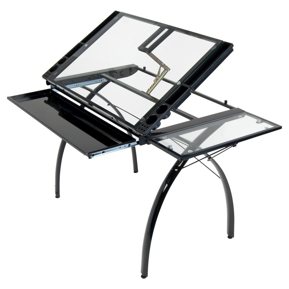 Futura Craft Station with Folding Shelf- Black/Clear Glass