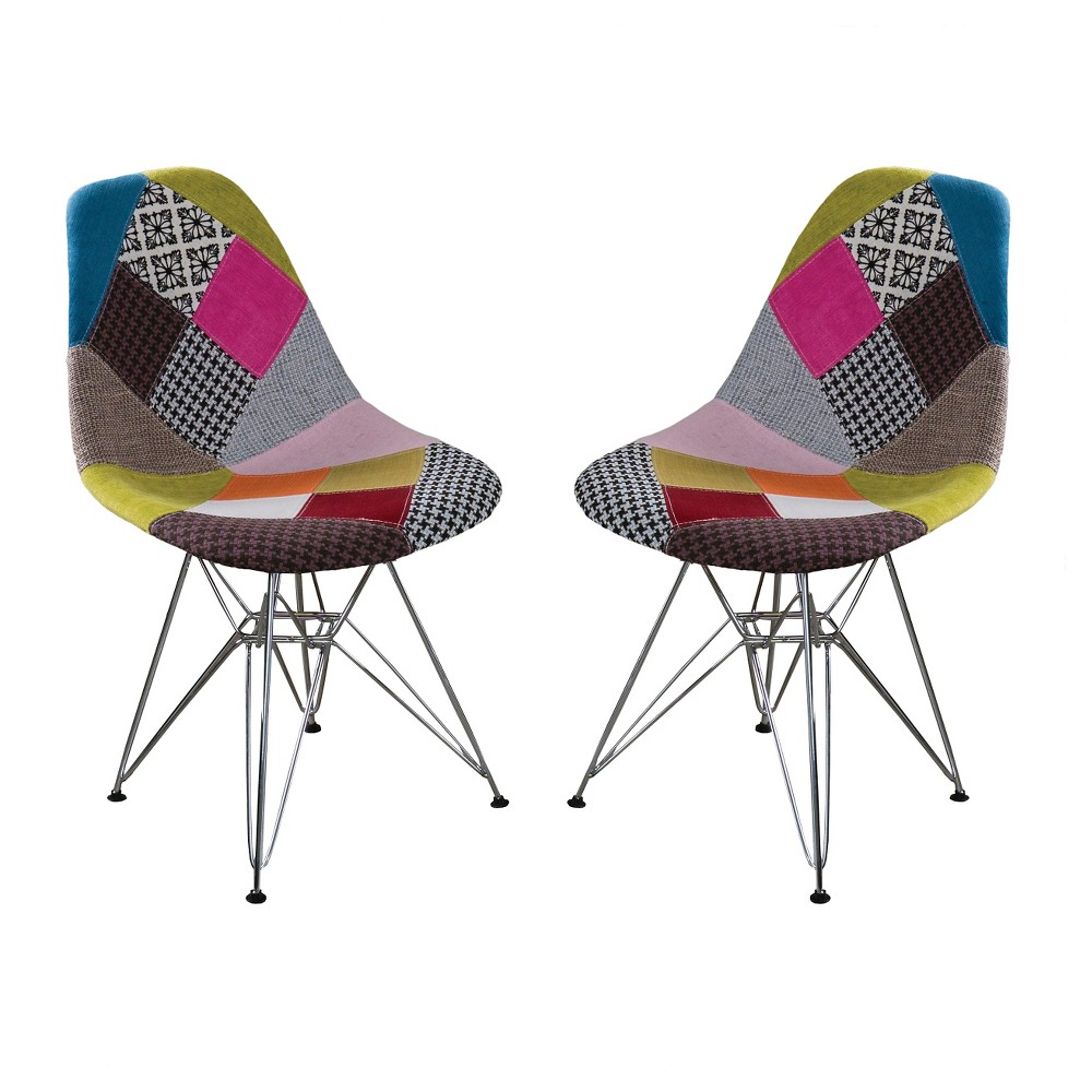 Wilmette Patchwork Fabric Chair Black/Pink/Green (Set of 2) - Christopher Knight Home, Multi-Colored