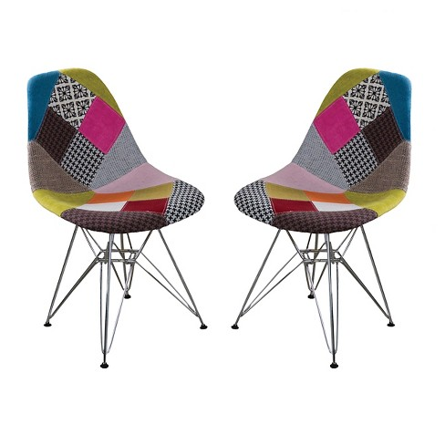 Wilmette Patchwork Fabric Chair Black/Pink/Green (Set of 2) - Christopher Knight Home - image 1 of 4