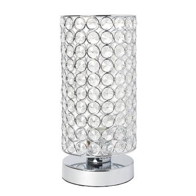 Elipse Crystal Bedside Nightstand Cylindrical Uplight Table Lamp Chrome - Elegant Designs