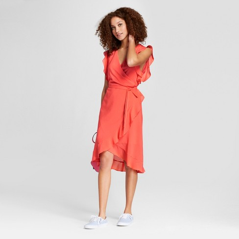 Women s Short Sleeve Ruffle Wrap Dress - A New Day™ Coral   Target 15038bb86