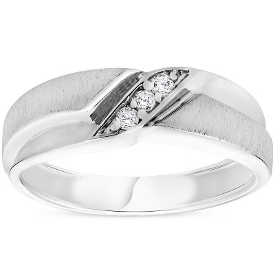Pompeii3 Mens 1/10ct White Gold Diamond Ring Contour Brushed Three Stone Wedding Band
