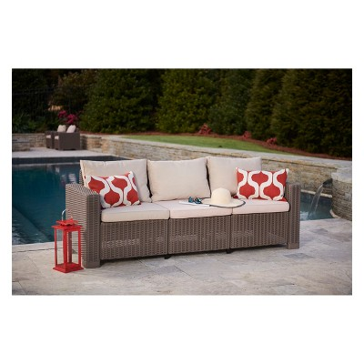 California Outdoor Resin Patio 3 Seat Sofa With Cushions   Keter : Target