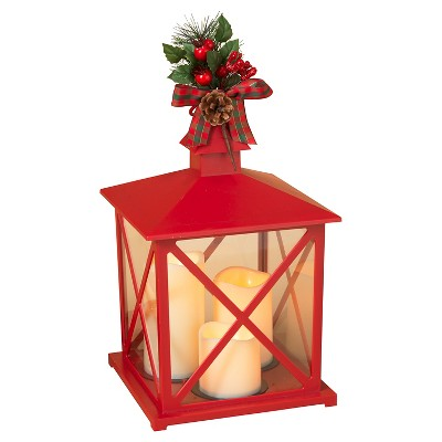 Plastic Lantern With 3 LED Candles Red 14.76  - Sterling®