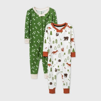 Baby Boys' 2pk Bear Pajama Jumpsuit - Cat & Jack™ Brown 18M