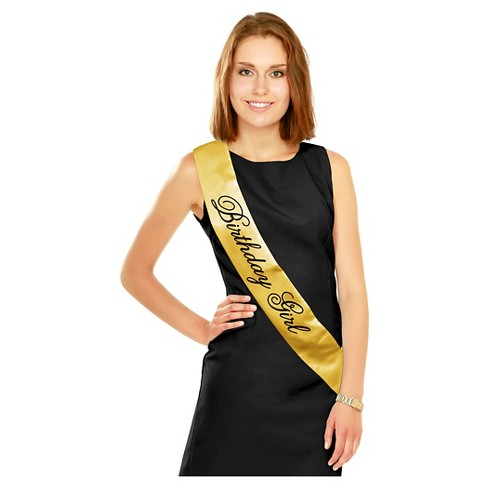 Black & Gold Birthday Girl Sash