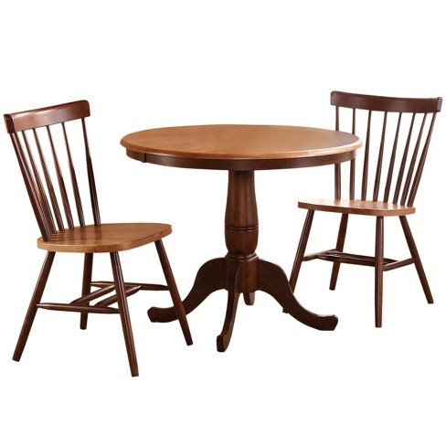 36 Set Of 3 Round Pedestal Table With 2 Copenhagen Chairs Cinnamon