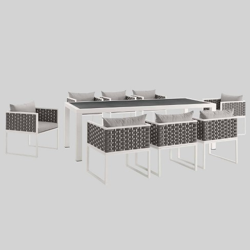 Shore 9pc Aluminum Patio Dining Set Gray - Modway - image 1 of 1