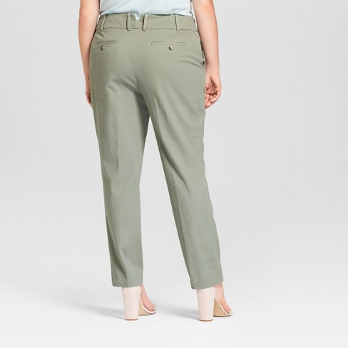 1b6e875d90332 Women s Plus Size Boyfriend Chino Pants - Ava   Viv™ Green 16W   Target