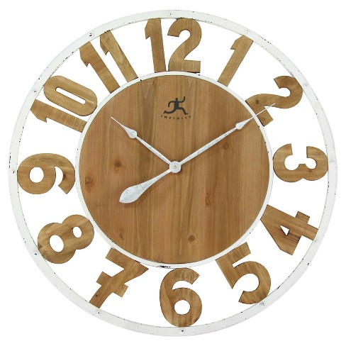 Natural Wood Wall Clock White/Beech - Infinity Instruments® - image 1 of 4