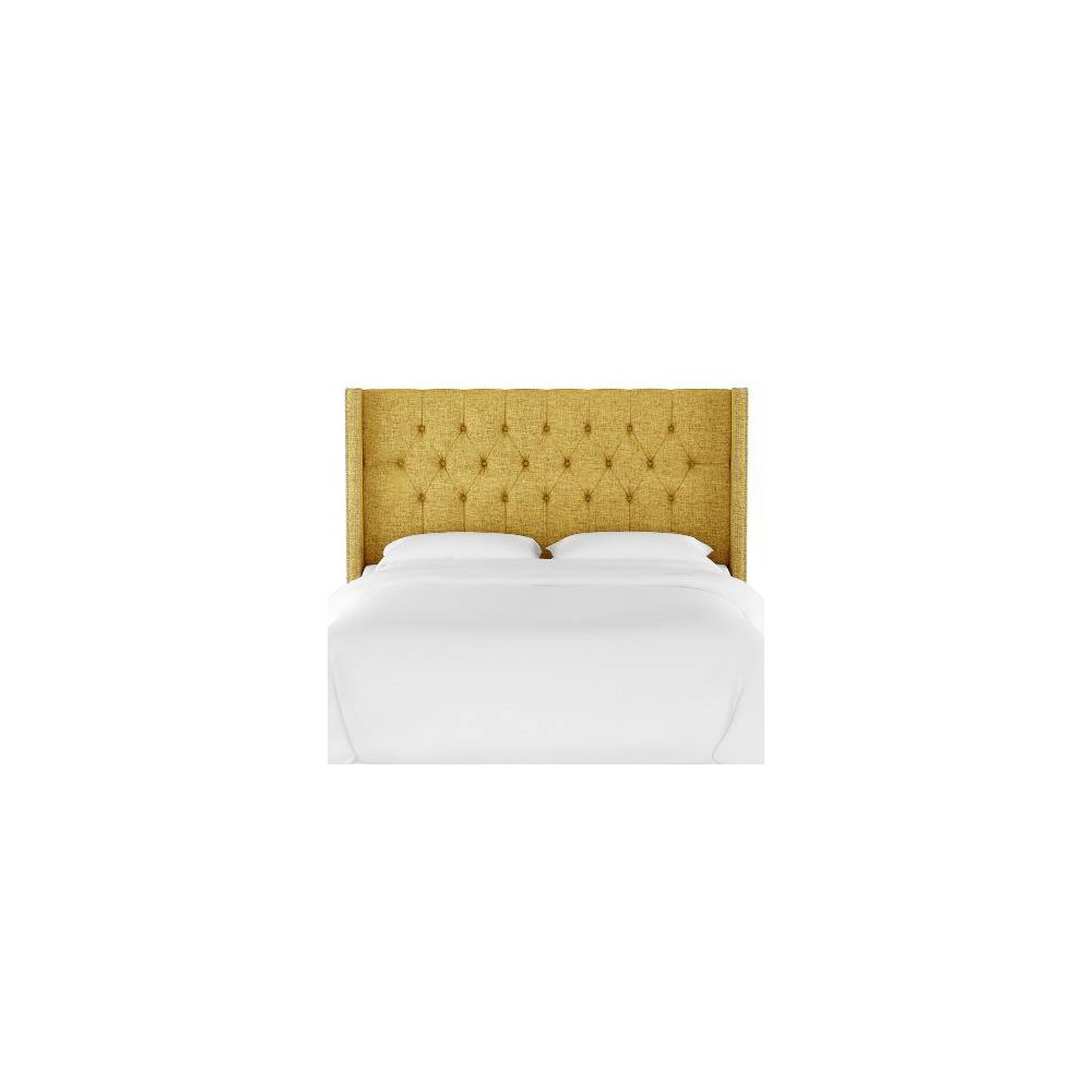 Queen Louis Diamond Tufted Wingback Headboard Golden Yellow Linen with Pewter Nail Buttons - Skyline Furniture