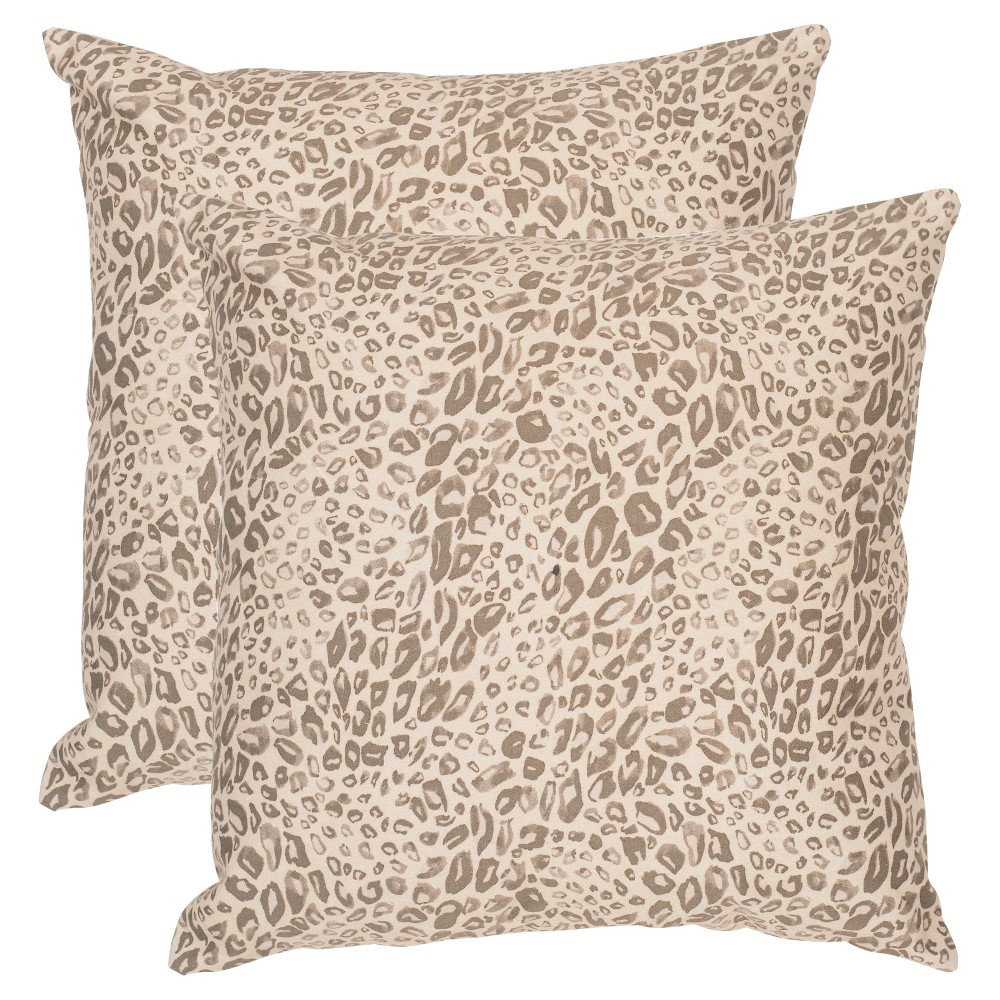 Earth Satin Leopard Throw Pillow Set Of 2 (20